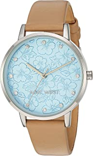 Nine West Women's Crystal Accented Silver-Tone and Tan Vegan Leather Strap Watch, NW/2423LBTN