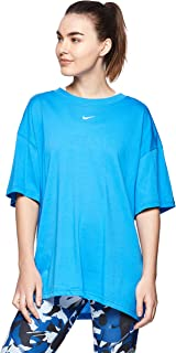 Nike Women's NSW ESSNTL TOP SS BF LBR T-Shirt, Blue(Lt Photo Blue/White435), X-Large