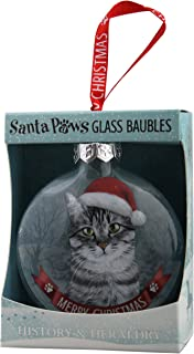 Santa Paws Glass Ornaments Santa Paws Glass Bauble - Cat - Silver Tabby Ornament, Multi
