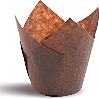 Tulip Cupcake Liners, Natural Baking Cups for Standard Size Cupcakes and Muffins Liners (300, Brown)