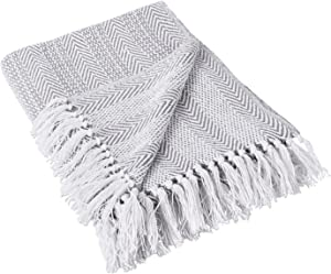 DII Coastal Herringbone Stripe Woven Throw, 50x60, Gray