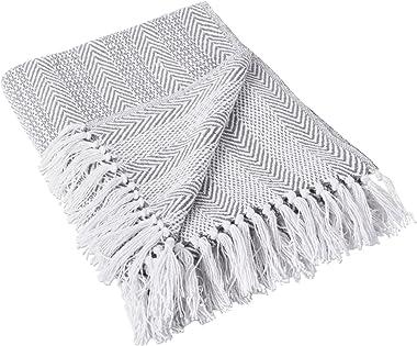 DII Herringbone Striped Collection Cotton Throw Blanket, 50x60, Gray
