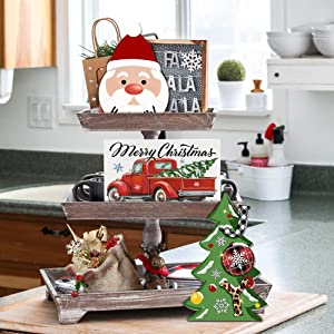cocomong Christmas Tiered Tray Decor - Farmhouse Serving Tray Winter Holiday Decorations for Home, Rustic Christmas Tree Tiered Tray Sign Set of 3 Table Decor, Decorative Wooden Block Santa Claus