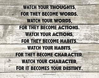 Brand, 11 X 14 Watch Your Thoughts Destiny Motivational Buddha Quote Photo Art Print