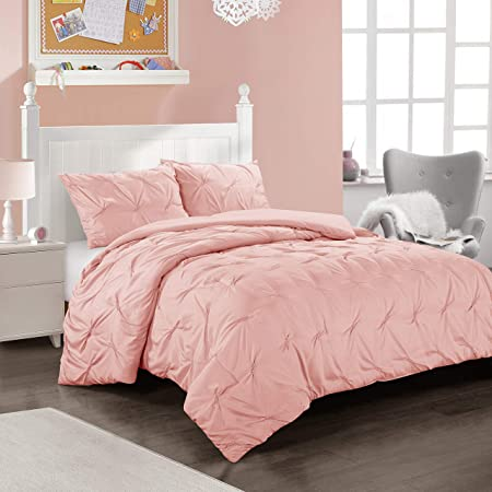 Heritage Club Ultra Soft – Sierra – Hypoallergenic – for Boys and Girls – All Season Breathable 2 Piece Kids and Teen Solid Pintuck Comforter Set – Alternative Microfiber –, Twin, Pink