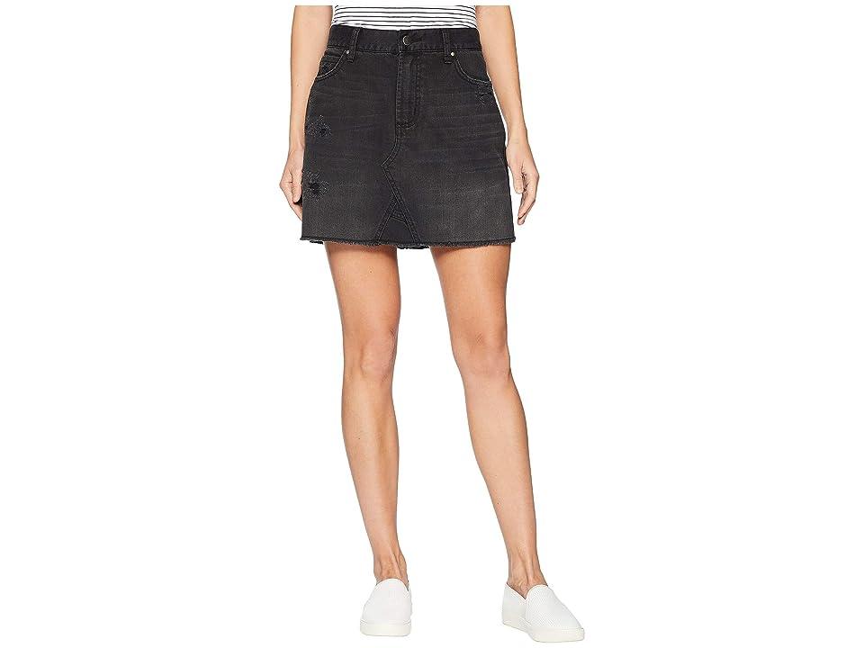 J.O.A. Distressed Denim Skirt (Blacktop) Women