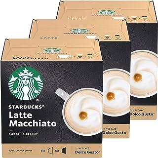 Nescafé Dolce Gusto Starbucks latte macchiato set om 3, kaffe, mjölkkaffe, kaffekapslar, 3 x 12 kapslar