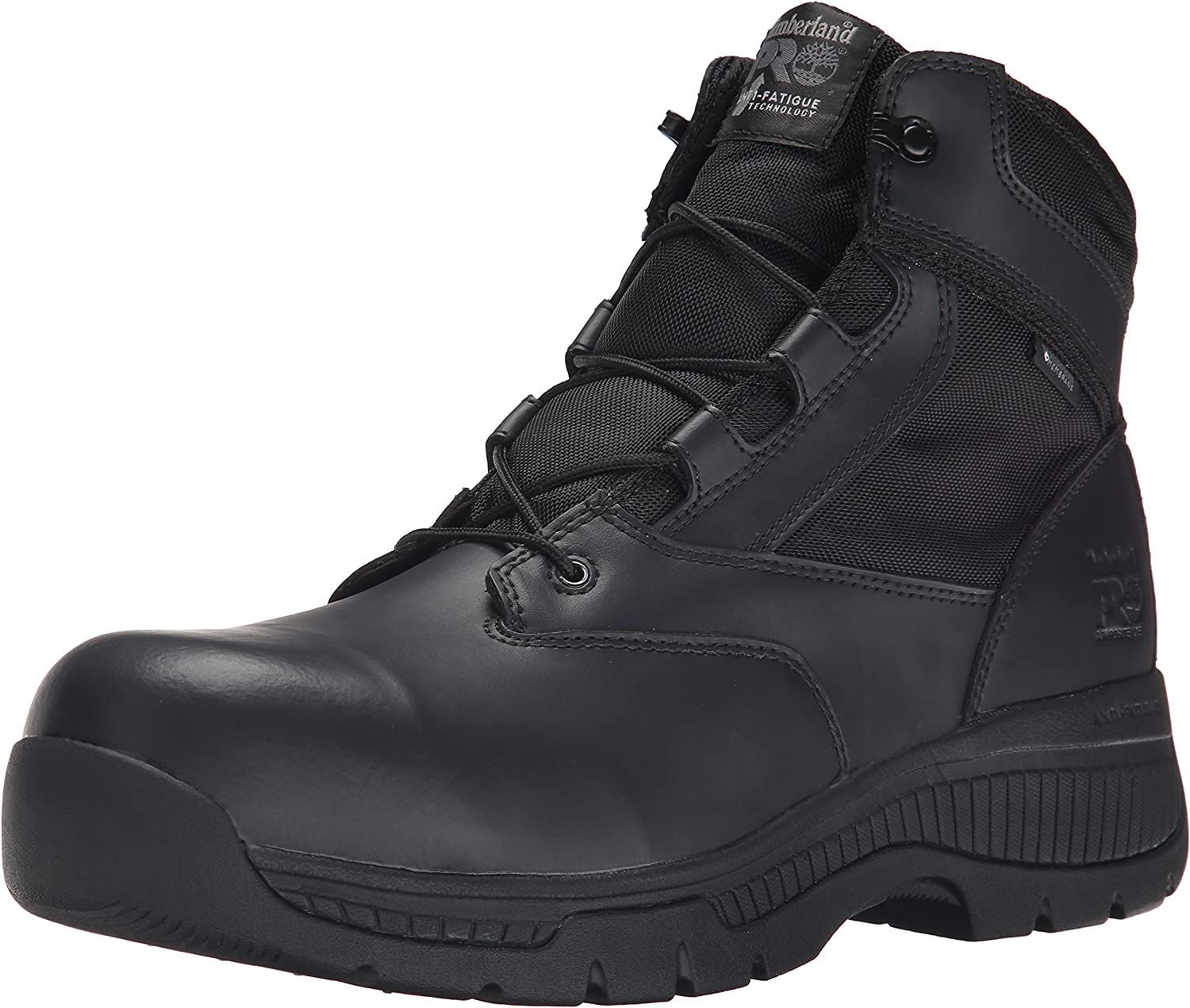 Timberland PRO Men's 6 Inch Valor Comp Toe Waterproof Side Zip Work Boot, Black Smooth Leather Ballistic Nylon, 15 W US