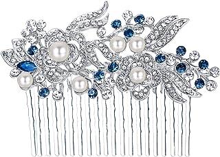 Ever Faith–Cristal Gatsby Inspirado Color Marfil Perla Simulada Peine del Pelo