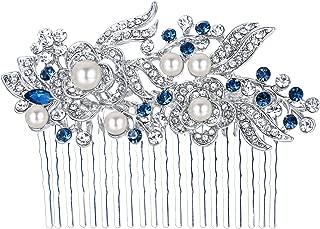 EVER FAITH Austrian Crystal Cream Simulated Pearl Flower Leaf Vine Wedding Feast Hair Comb