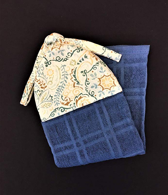 Leaf And Scroll Blue Green Tan Reversible Ties On Kitchen Hanging Hand Towel