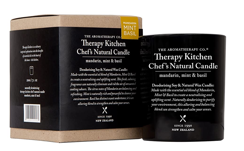 体肌スコットランド人Therapy Kitchen セラピーキッチン Natural Chef`s Candle マンダリン?ミント&バジル
