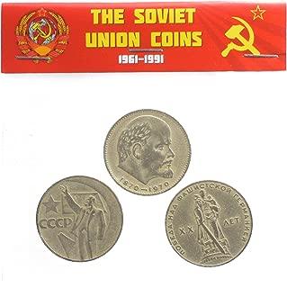 3 X USSR Soviet Russia Commemorative 1 Ruble Coins Set Lenin Head, Hand, Soldier