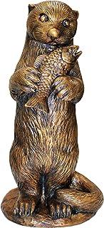 Design Toscano Standing Otter with Fish Cast Bronze Garden Statue