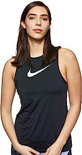 Nike Women's Np E Short Sleeve Ential Swoosh Tank, Black (Black/White)