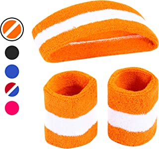 AFLGO Sweatband Set for Sports, Workout, Training & Exercise 1 Headband & 2 Wristbands Cotton to Pair with Your Athletic Costume Apparel Comfy & Durable Sport Accessories Halloween Costumes