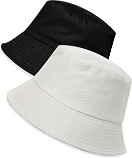 Unisex Teens Sun-Hat Reversible-Bucket-Hat - Soft Solid Fisherman Cap Beach Womens Youth