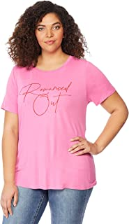 Beme Rebel Wilson Fitted Graphic Tee Romanced Out 1XL - Womens Plus Size Curvy