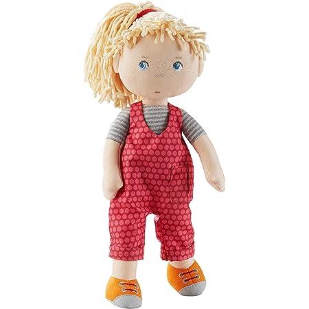 HABA 305408 Cassie, muñeca de Trapo de Materiales Suaves y Lavables con Peto y Goma Trenzada, 30 cm, muñeca para niños a Partir de 18 Meses