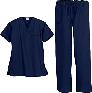 Unisex Classic Scrub Set – Includes Medical Uniform Top and Pant (XS-3X, 14 Colors)   Unisex Styled for Men and Women