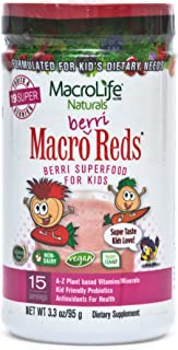 MacroLife Naturals Macro Berri Reds Multivitamin Drink Mix for Kids – All Natural with 1 Billion Probiotics & Enzymes to A...