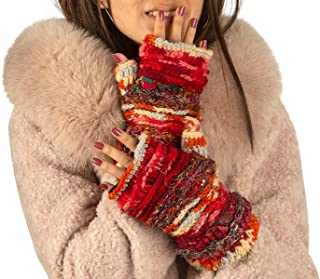 Warm Winter 100% Wool Fingerless Gloves Arm Warmers Hand Knit Crochet Pink Woman