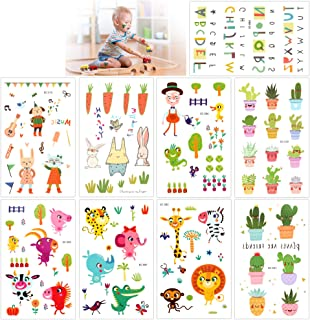 Temporary Tattoos For Kids(135Pcs), Konsait Animal Zoo Flower Plant Letter Cartoon Assorted Tattoo Stickers For Children Girls Boys, Great Kids Party Accessories Goodie Bag Stuffers Party Fillers Gift