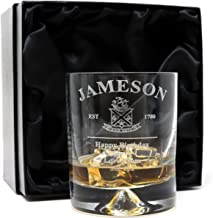 Engraved/Personalized New Jameson Irish Whiskey Design Dimple Whisky Glass Tumbler (Silk Lined Gift Box)