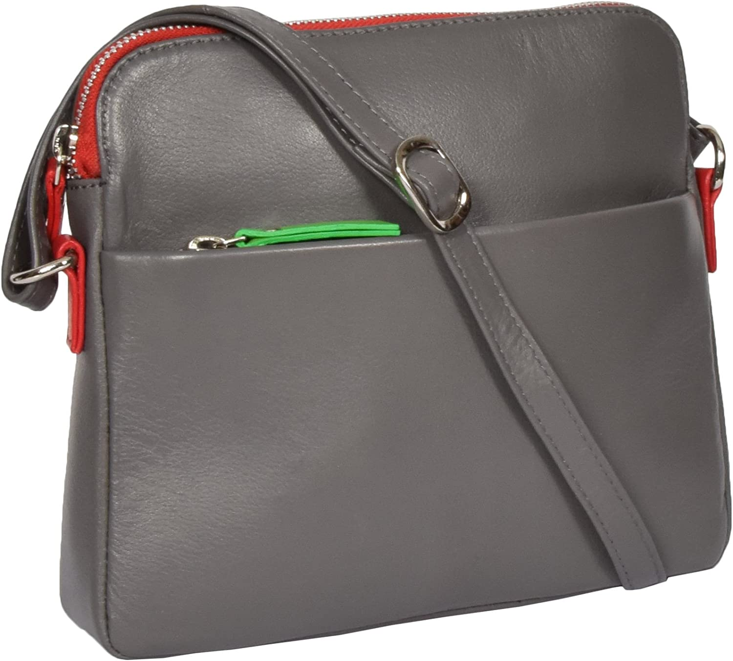 A1 FASHION GOODS Womens Soft Leather Cross Body Bag Grey Zip Top Messenger Sling Shoulder Bag Polly