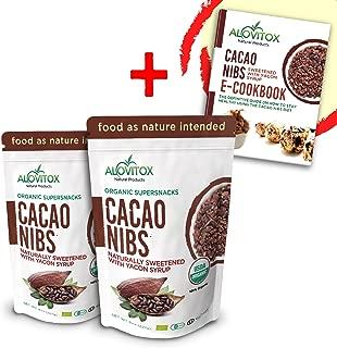 Cacao Nibs Sweetened With Yacon syrup- NATRUAL SWEETENER (zero sugar)- Keto Friendly-Certified Organic by Alovitox 8oz (16)
