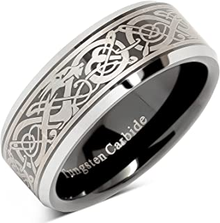 Tungsten Ring for Men Black Wedding Band Celtic Dragon Engraved Engagement Promise Beveled Size 8-15