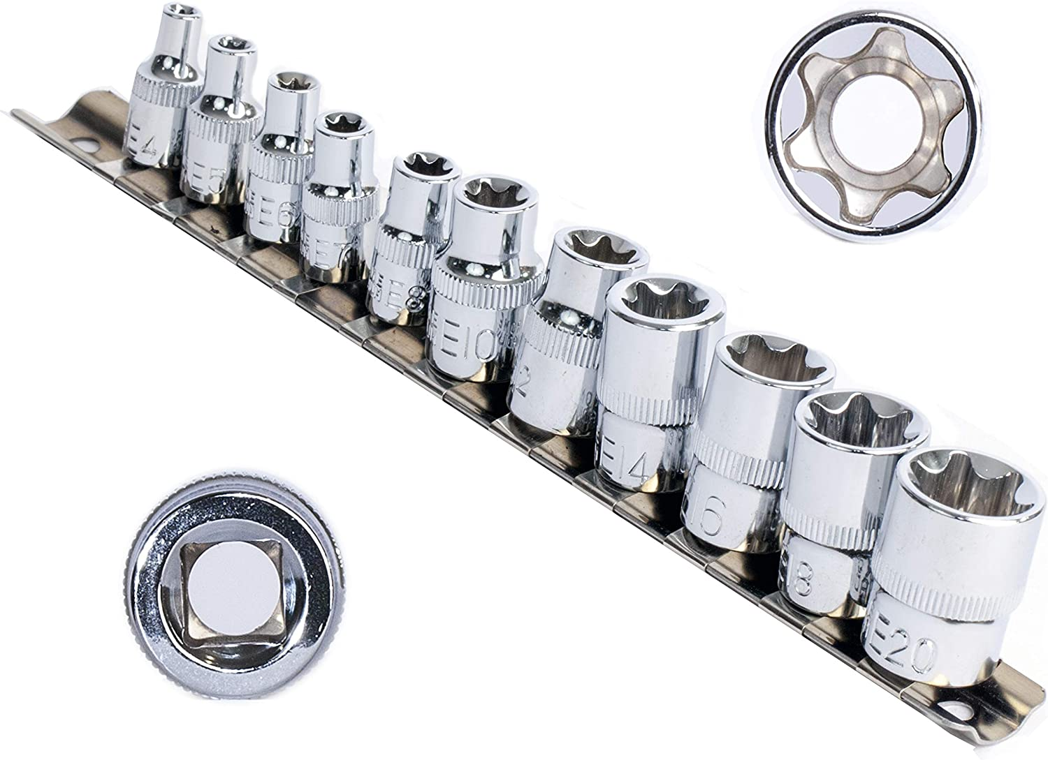 eHomeA2Z 11 Pc E-Torx Female Star Drive CR-V Our shop most popular E Steel Set Sockets OFFicial mail order