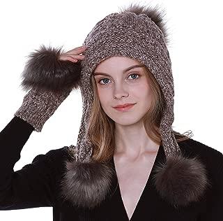 2 PCS Women Knitted Beanie Hat Gloves Set Pompom Warm Winter ski Beanie Hats with Earflap