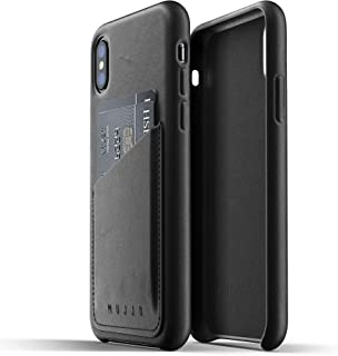 Mujjo Full Leather Wallet Case for iPhone Xs, iPhone X | Premium Genuine Leather, Natural Aging Effect | 2-3 Card Pocket, Wireless Charging (Black)