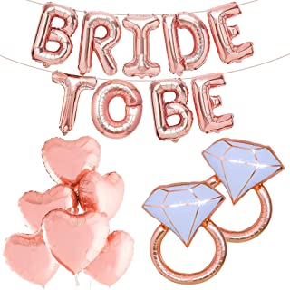 Rose Gold Bride To Balloons With Foil Heart Balloons - Big 32 Inch Diamond Ring Balloons | Bride Balloons for Bachelorette...
