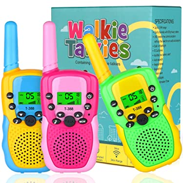 EZIGO Kids Walkie Talkies Toy for 3 4 5 6 7 Year Old Boys, 22 Channels 3KM Range with LCD Flashlight Best Birthday Xmas Gifts for 8 9 10 12 Year Old Boys and Girls for Outdoor Camping 3 Pack