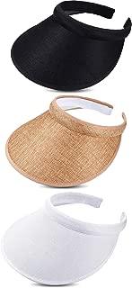 3 Pieces Sun Visor Hats Summer Wide Brim Clip on Beach Adjustable Large Brim Cap Golf Hat for Women