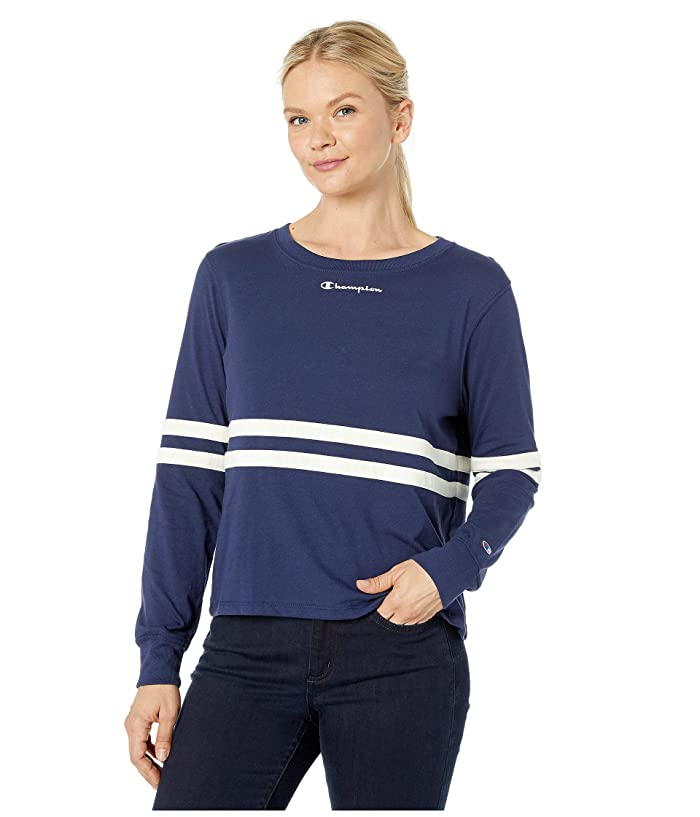 Champion  Heritage Long Sleeve Tee (Athletic Navy) Womens Clothing