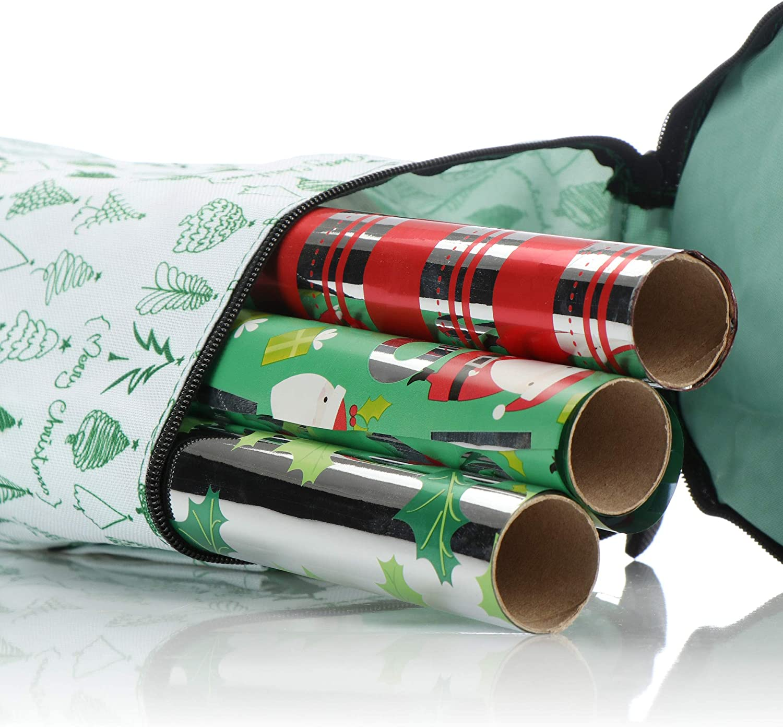 Blanco Verde com-four/® Almacenamiento de Papel de Regalo Bolsa de Papel de Regalo Organizador de Papel de Regalo Almacenamiento para Rollos de Papel de Regalo