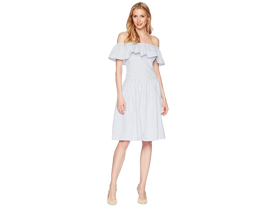 LAUREN Ralph Lauren Carter Stripe Bambino Dress (White/Blue) Women