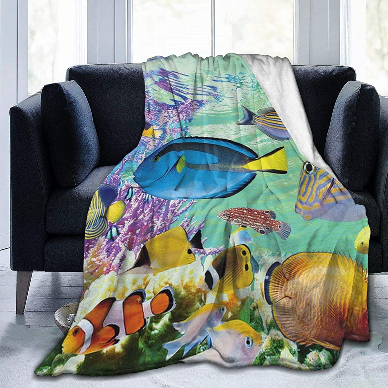 Guhire Marine Creatures Fleece for Genuine Free Shipping Direct stock discount Bedroom Throw Blanket