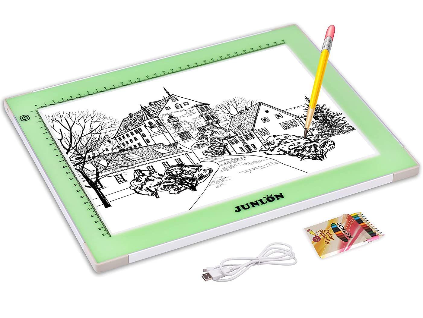 JUNLON Aluminum A4 USB LED Light Pad Light Box Light Table Tracing Board,Adjustable Brightness Ultra-Slim Led Pad Light for Weeding Vinyl,Drawing,Artcraft,Sketching,5D Diamond Painting Full Drill