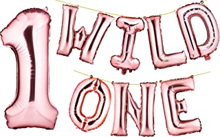 """envizins Rose Gold Wild ONE 16"""" Foil Letters Balloon Banner, with Large Number """"1"""", Baby Boy/Girl First Birthday"""