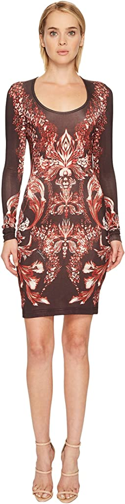 Plume of Baroque Printed Long Sleeve Scoop Neck Dress