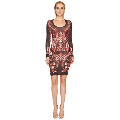 Just Cavalli Plume of Baroque Printed Long Sleeve Scoop Neck Dress (Rose Red) Women