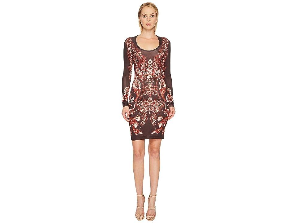 Just Cavalli Plume of Baroque Printed Long Sleeve Scoop Neck Dress (Rose Red) Women