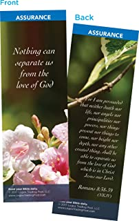 Christian Bookmark with Bible Verse, Pack of 25, Assurance Themed, Nothing Can Separate Us From the Love of God, Romans 8:38-39