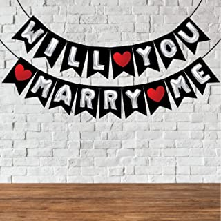 Wobbox Pre-Wedding Bunting Banner Silver Balloon Text with Red Heart Will You Marry Me, Party Decoration