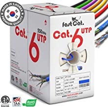 fast Cat. Cat6 Ethernet Cable 1000ft - Insulated Bare Copper Wire Internet Cable with Noise Reducing Cross Separator - 550MHZ / 10 Gigabit Speed UTP LAN Cable 1000 ft - CMR (Blue)