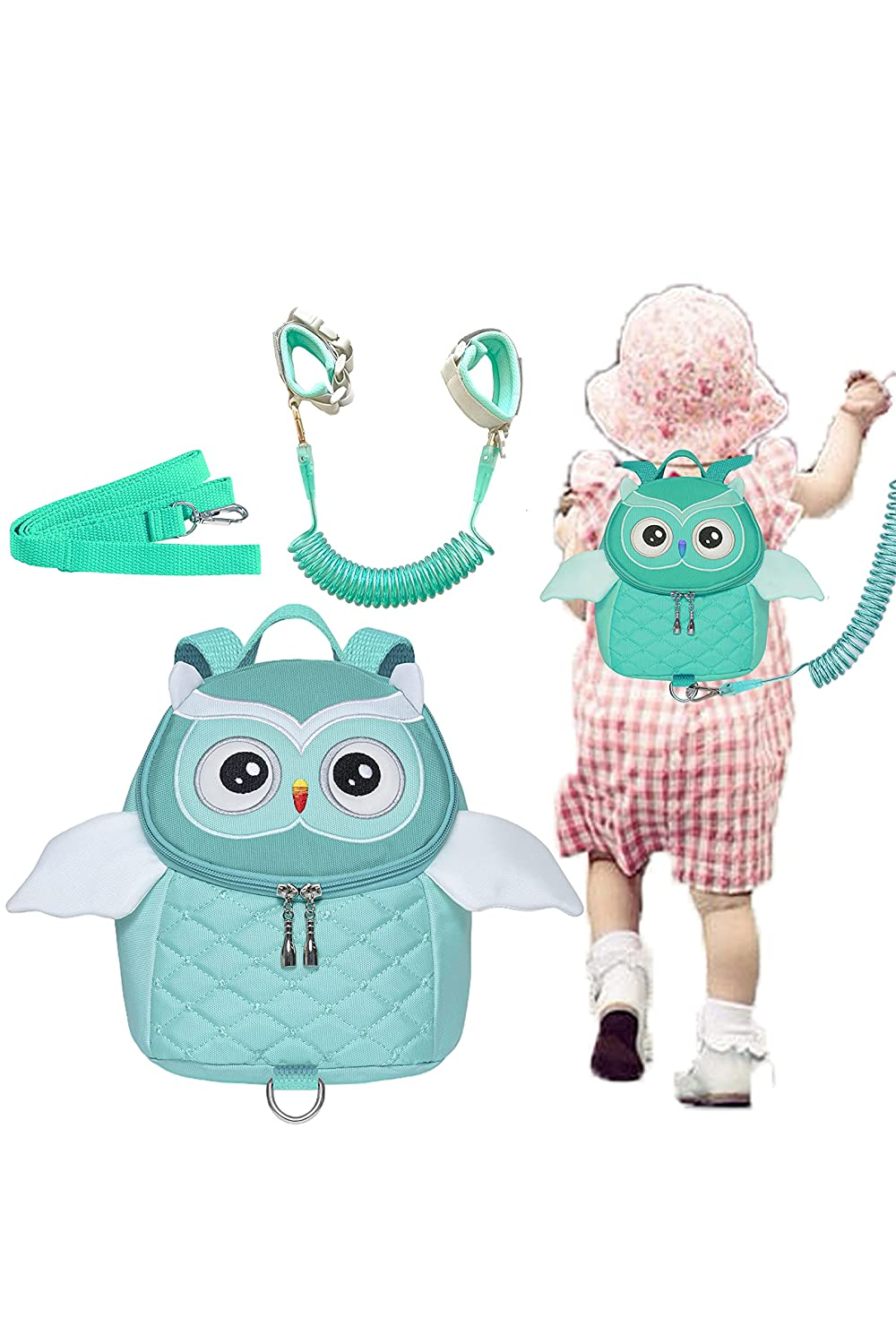 Owl Toddlers Leash Backpacks with Anti-Lost Wristband Child Kids Wrist Link(Light Green)